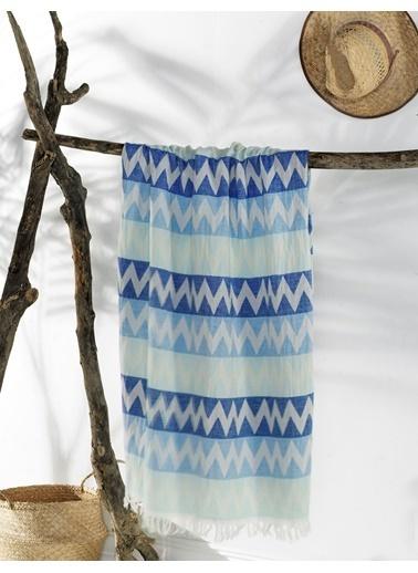 EnLora Home Enlora %100 Naturel Peştamal Zigzag  Mavi